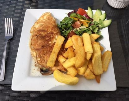 Picture of Chicken Omelette & Chips  (servedwith salad)
